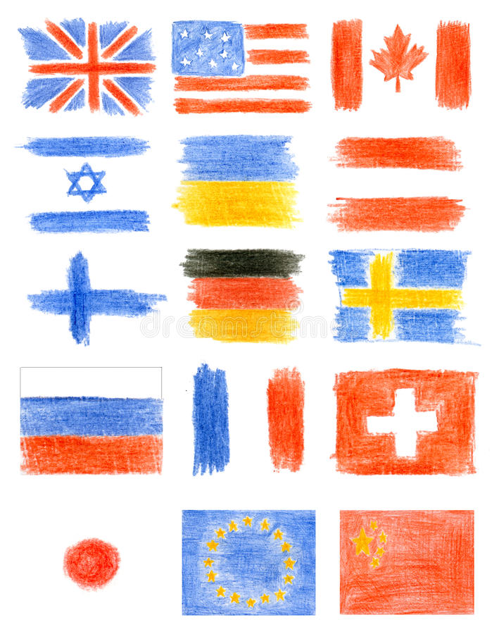 Collection of flags stock images