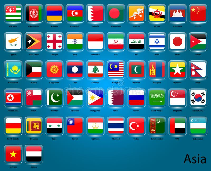 Collection of flags of Asian countries royalty free illustration