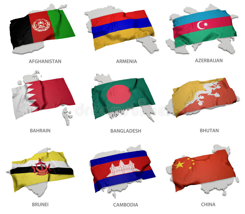 A collection of the flags covering the corresponding shapes from some asian states vector illustration