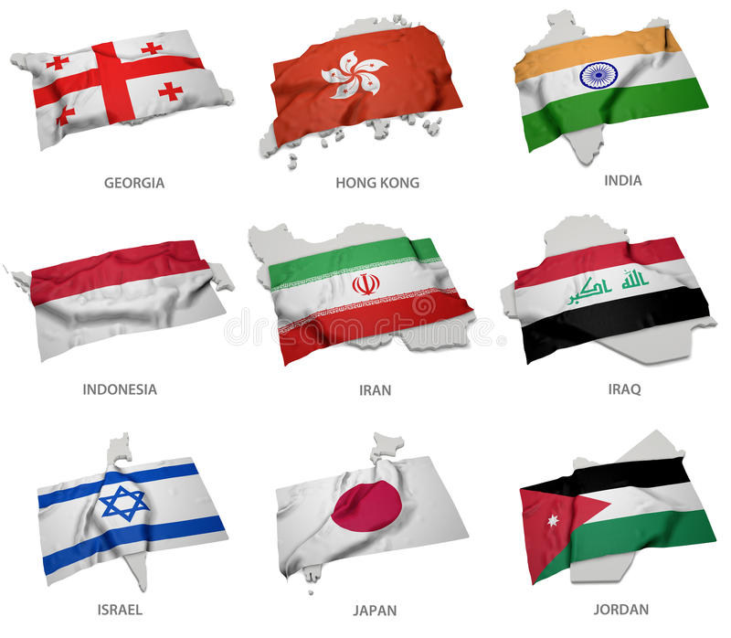 A collection of the flags covering the corresponding shapes from some asian states royalty free illustration
