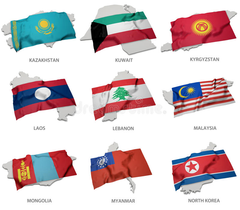 A collection of the flags covering the corresponding shapes from some asian states stock illustration