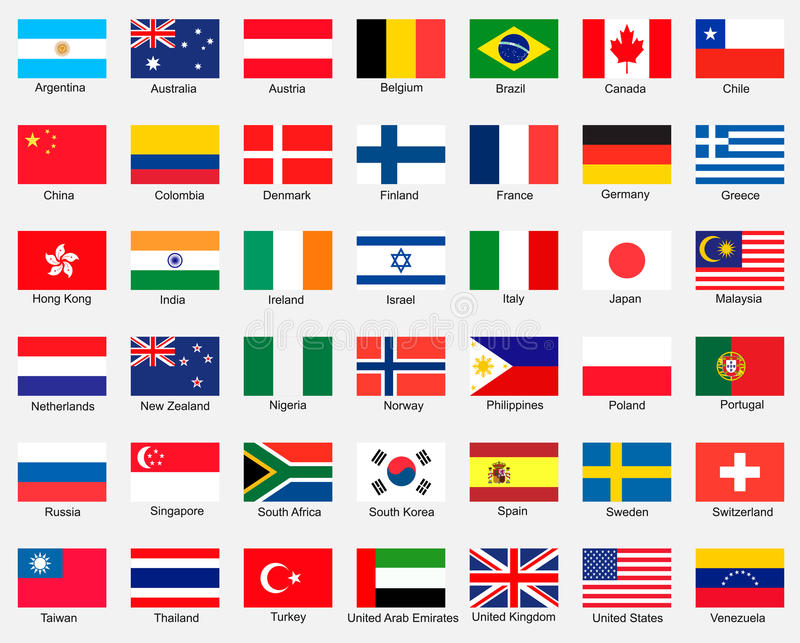 Collection of flags. Vector design stock illustration