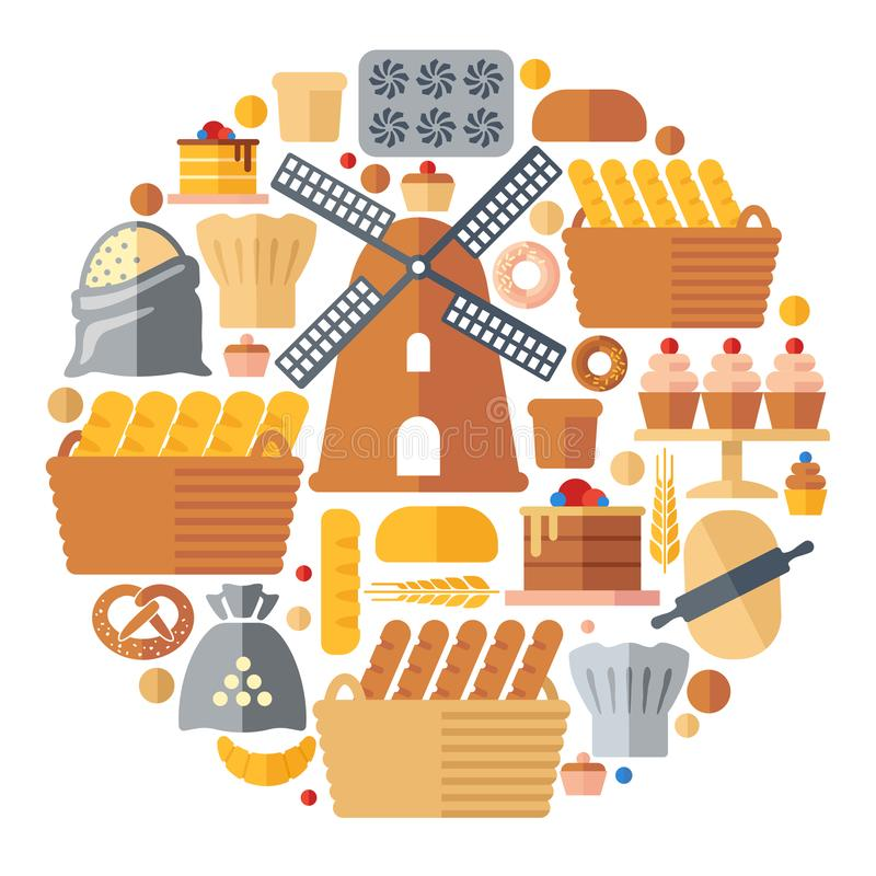 Set of flat bakery icons in the form of a circle. Vector illustration royalty free illustration