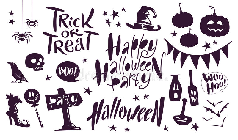 Collection of flat black vector halloween traditional decoration elements on white background lettering, spiders, pumpkin stock illustration