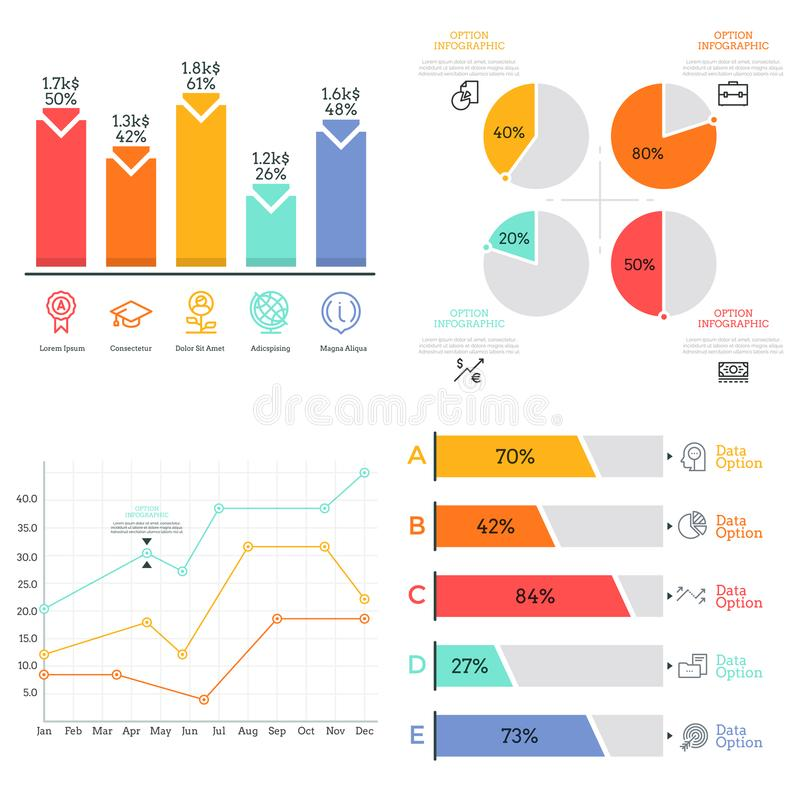 Collection of flat colorful diagram, bar and line graph, pie chart elements. Statistical data visualization concept royalty free illustration