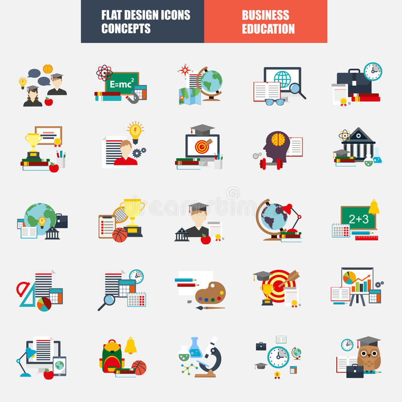 Collection of flat design concept icons education royalty free illustration