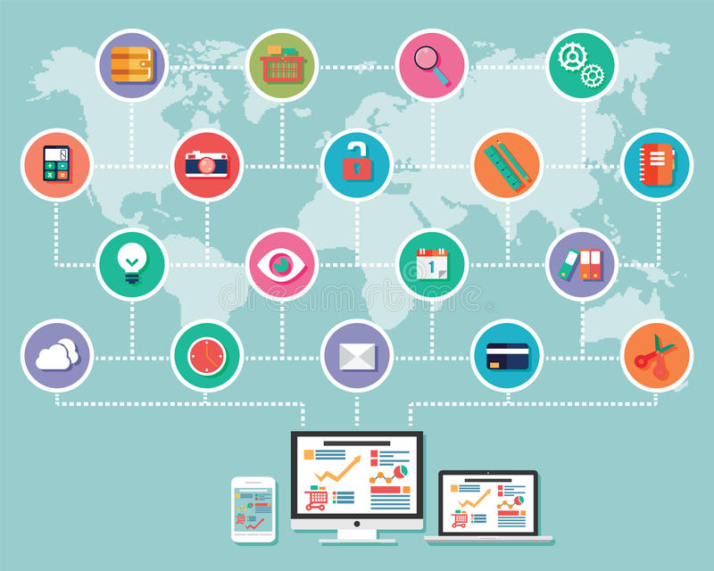Collection of flat design icons, computer and mobile devices, cl stock illustration