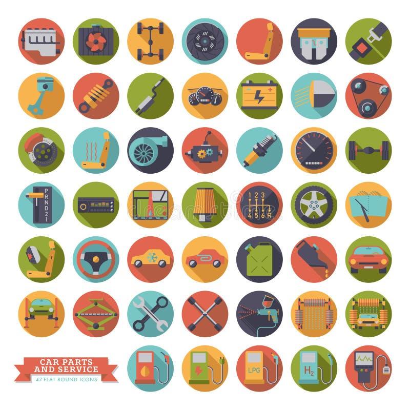 Flat design long shadow car parts, service and repair icons. Round automotive vector symbols set stock illustration