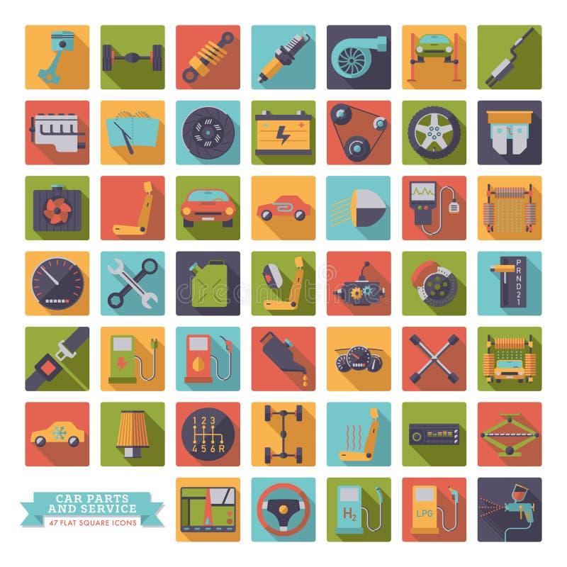 Flat design long shadow car parts, service and repair icons. Square automotive vector symbols set royalty free illustration