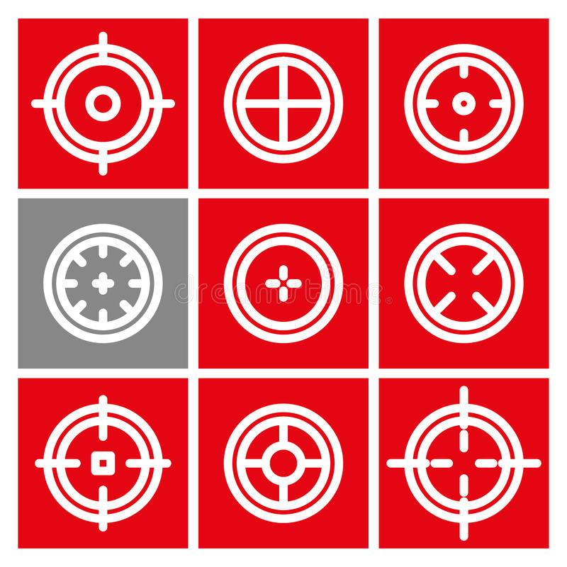 Collection of flat game targets . Crosshair icon. Aim icon. Bullseye sign. Shootimg mark set. Target icon.Computer game element, military concept stock illustration