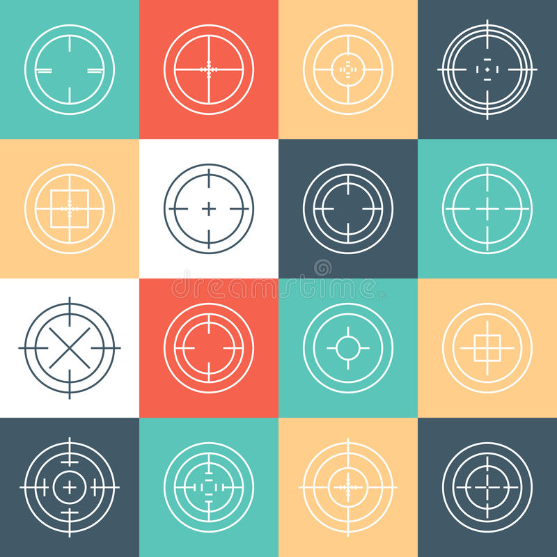 Collection of flat game targets . Crosshair icon. Aim icon. Bullseye sign. Shootimg mark set. Target icon.Computer game element, military concept vector illustration
