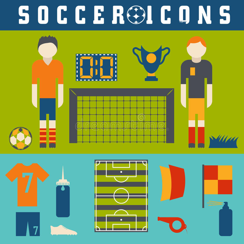 Collection of flat icons on the theme of football. Vector collection of flat icons on the theme of football royalty free illustration