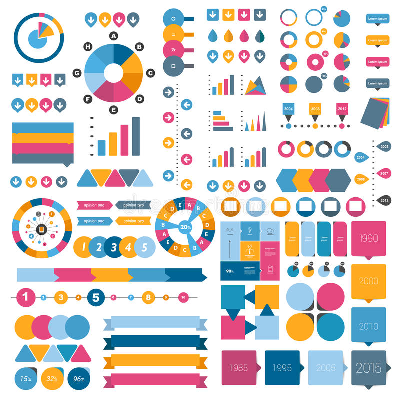 Collection of flat infographics elements. royalty free illustration