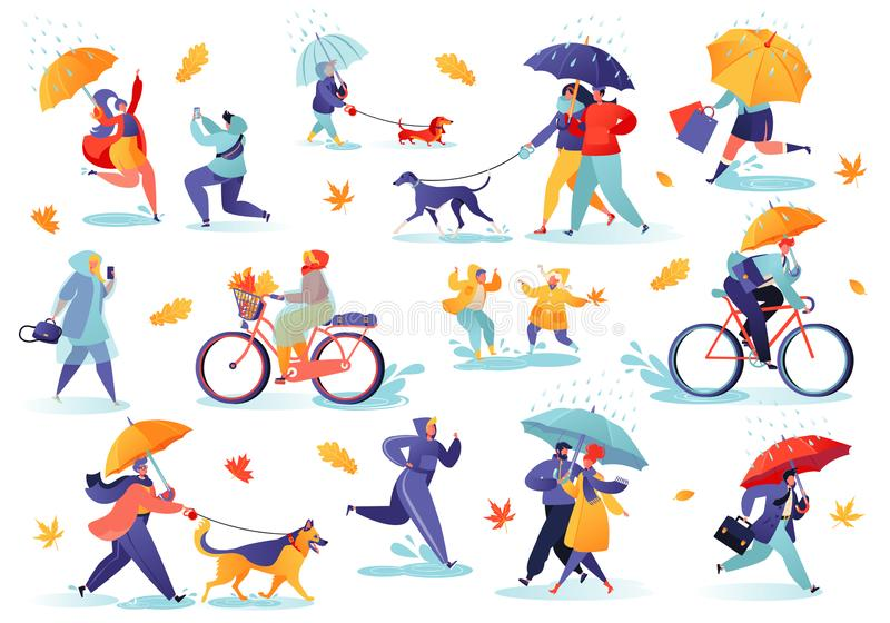 Collection of flat people characters walking under umbrella on autumn rainy day. vector illustration