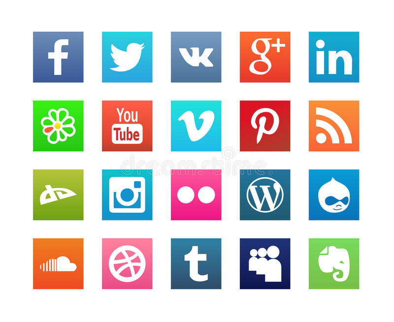 Collection of Flat Social Media Icons stock illustration