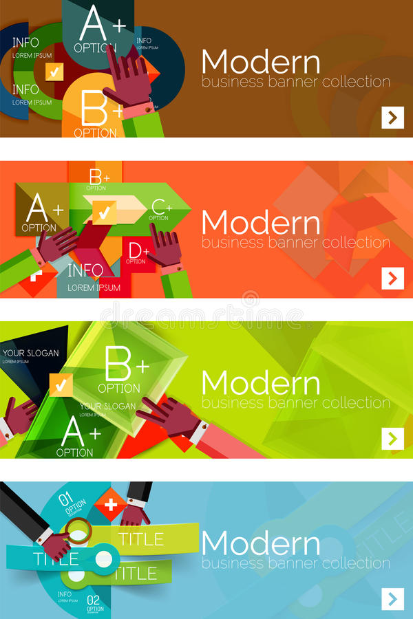 Collection of flat web infographic concepts and. Banners, various universal set. Paper graphics with gestures, data presentation stock illustration