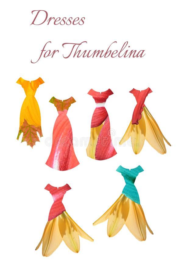 Collection of floral dresses for Thumbelina stock illustration