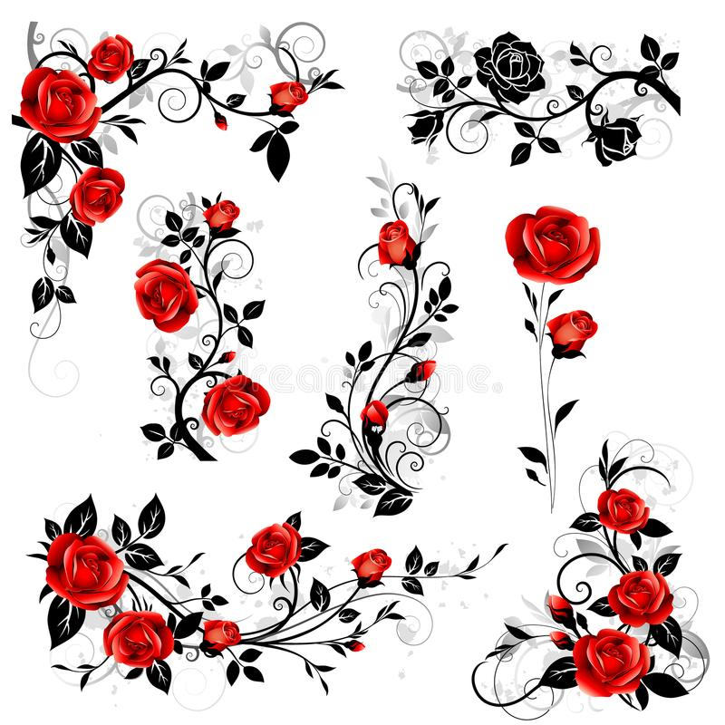 Download Vector Set Of Decorative Calligraphic Design Elements With Red Vintage Rose And Black Leaves For