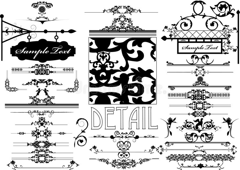 Collection of Floral ornament royalty free illustration