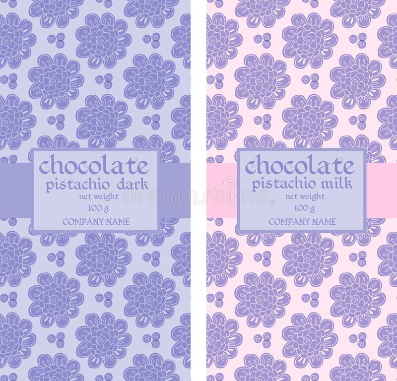 Collection of floral seamless patterns for chocolate packaging vector illustration