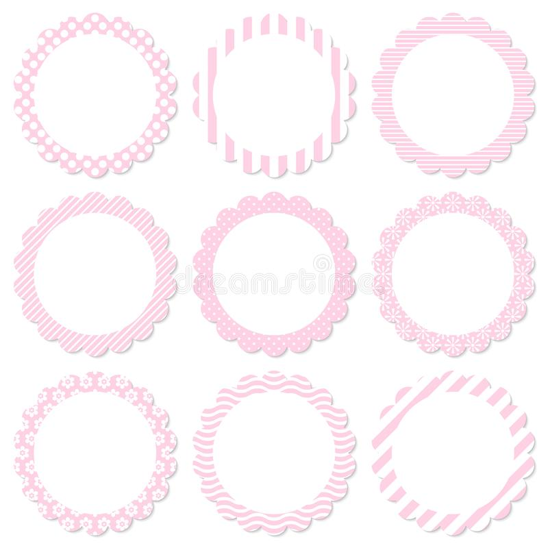 Set Of Floral Sticker Different Pattern Pink And White stock illustration