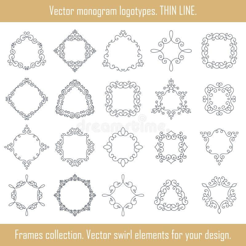 Collection florale de cadres Ensemble de vecteur de trames Éléments de remous pour la conception illustration libre de droits