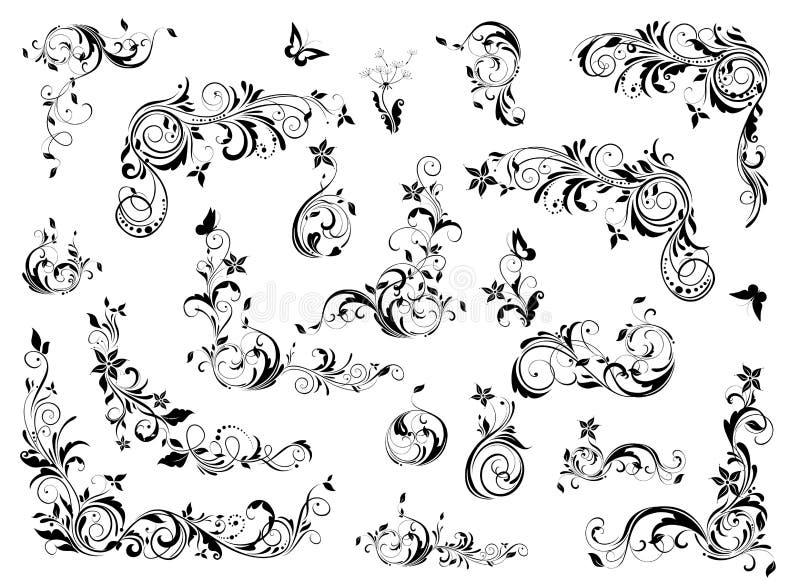 Collection florale de d?coration de cru ?l?ments baroques et rococos de conception illustration libre de droits