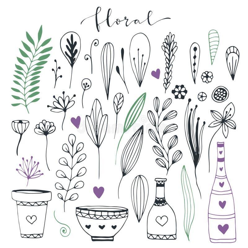Collection florale tirée par la main de griffonnage Éléments décoratifs mignons pour des cartes de voeux d'invitation et de conce illustration libre de droits