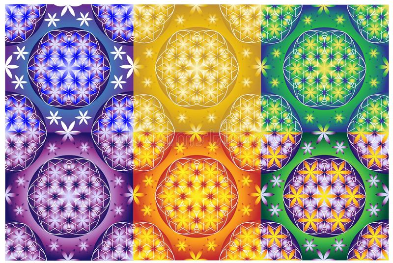 Collection of 6 flower of life seamless patterns vector illustration