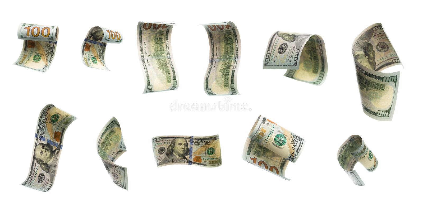 Collection of flying banknotes of hundred dollars. View from different angles stock photo