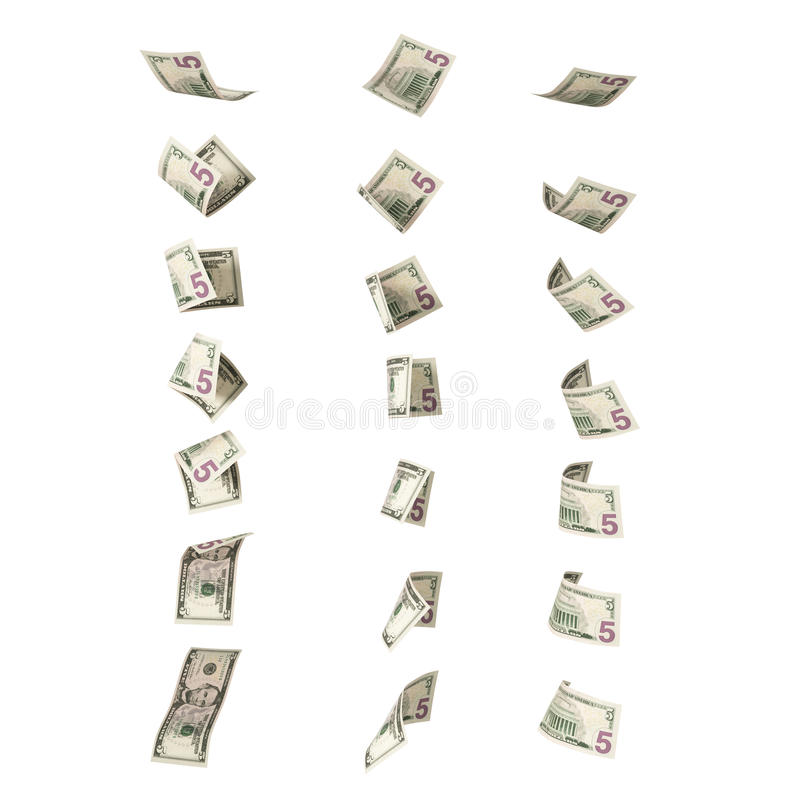 Collection of flying 5 dollars banknotes royalty free stock photos