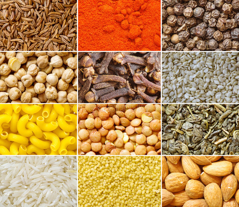 Collection of food ingredients royalty free stock photos