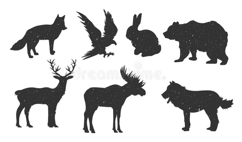 Collection of forest animals silhouette vector illustration
