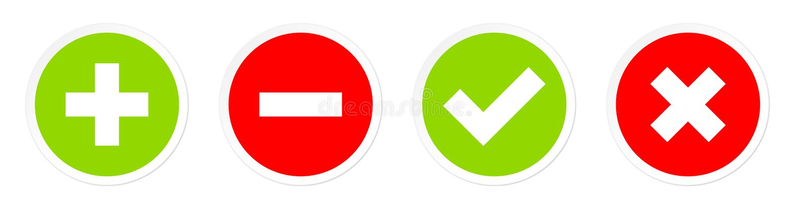 Set Of Four Buttons Plus Minus And Checkmarks Red And Green stock illustration