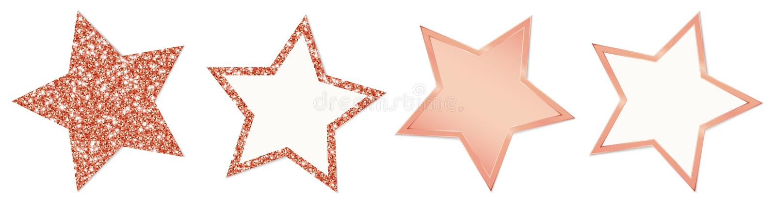 Collection Of Four Copper Stars Sparkling And Shining vector illustration