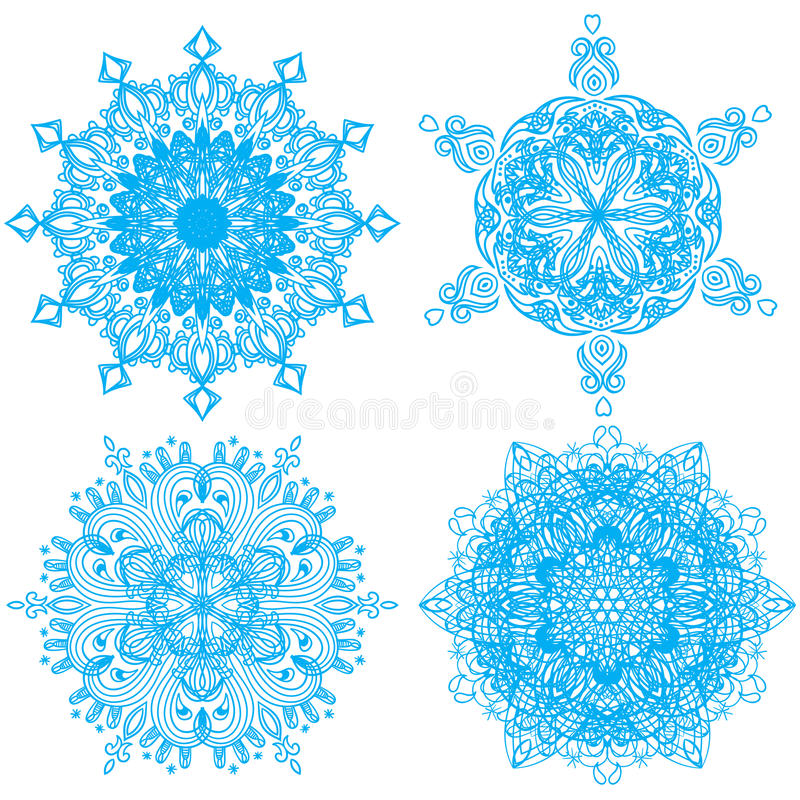 Download Collection Of Four Elegance Snowflakes Stock Image - Image: 28656261