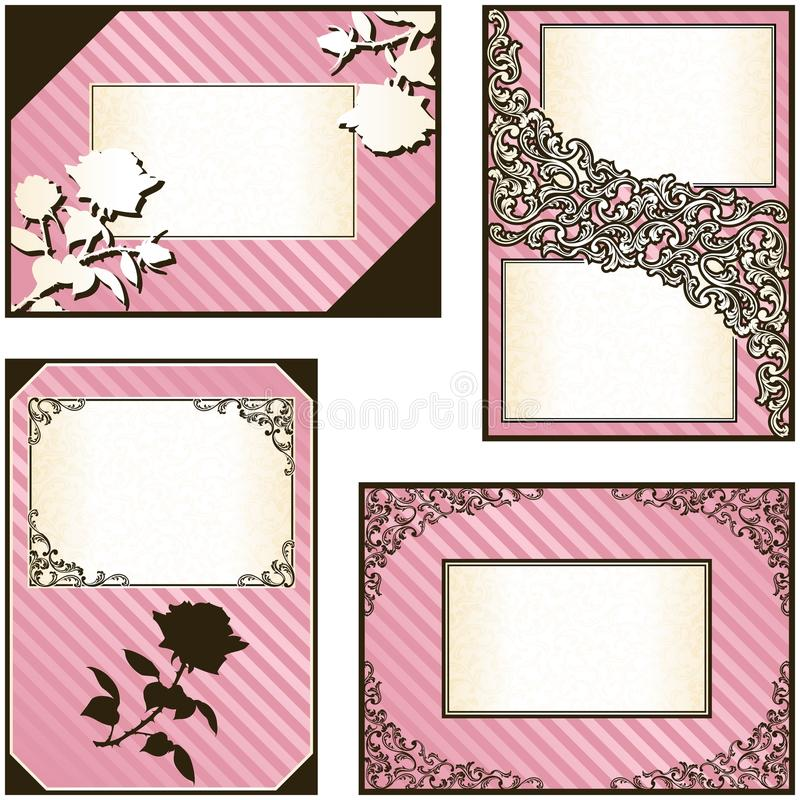 Collection of four elegant pink labels royalty free illustration