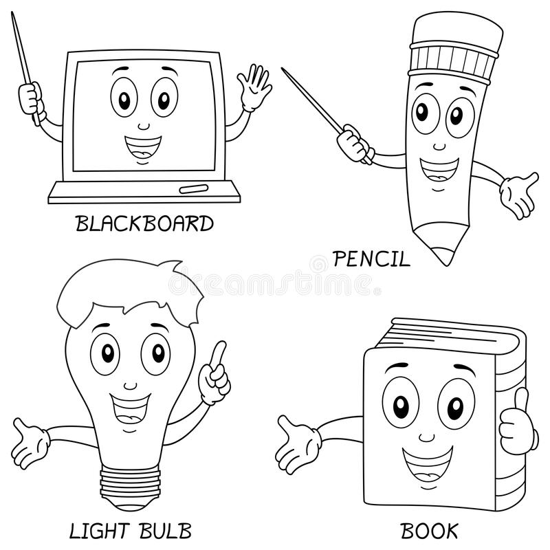 Download Coloring Learning Characters Stock Vector