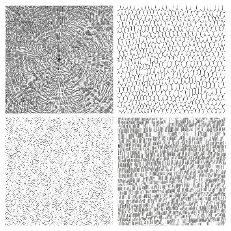Collection of four hand drawn vector backgrounds royalty free stock images