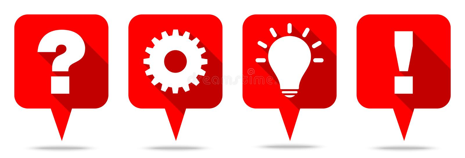 Set Of Four Red Speechbubbles Question Work Idea And Answer stock illustration