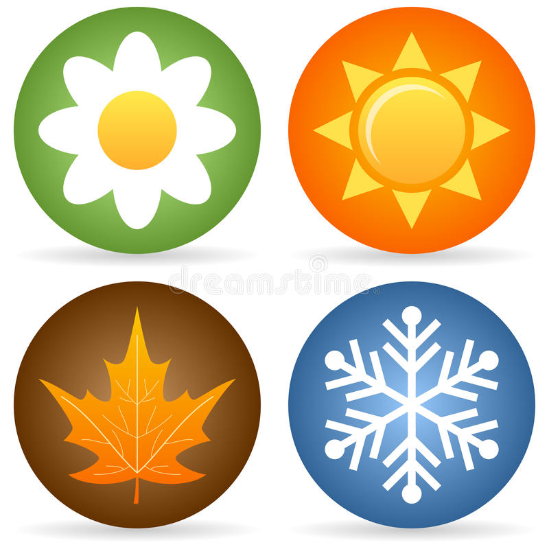 Four Seasons Icons. Collection of four rounded seasons icons with a daisy flower for spring, the sun for summer, a leaf for autumn and a snowflake for winter
