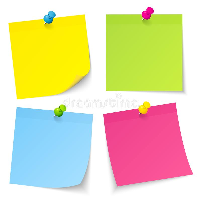 Set Of Four Sticky Notes With Pins Yellow Green Blue Pink. Collection Of Four Sticky Notes With Pins Yellow Green Blue Pink stock illustration