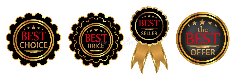 Collection four vector badges. `Best choice`, `Bestseller`, `Best price`, `Best offer`. Vector illustration vector illustration