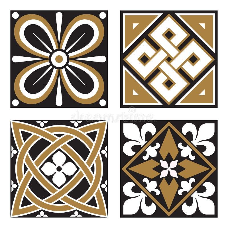 Collection of Vintage Ornamental Patterns. Collection of Four Vintage Ornamental Tile Patterns royalty free illustration
