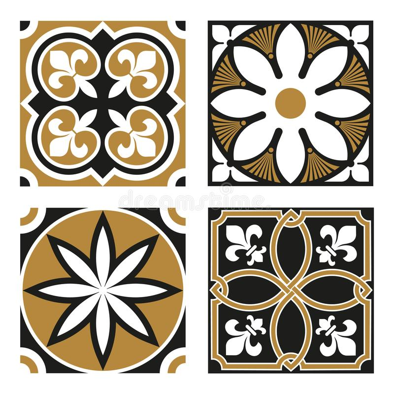 Collection of Vintage Ornamental Patterns. Collection of Four Vintage Ornamental Tile Patterns vector illustration