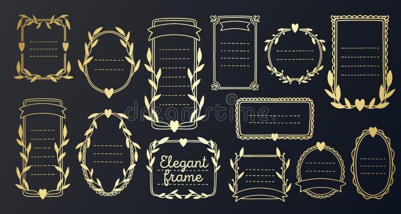 Collection frame gold wedding design invitation. Floral border vintage hand drawn,decorative elegant element vector illustration