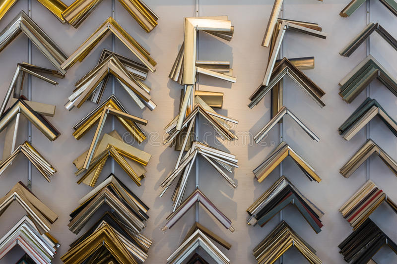 Collection of Framing Equipment Corners Racks Shelf Store Shop W royalty free stock image