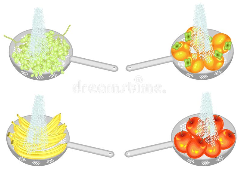 Collection. Fresh fruit is washed under running water. In a colander, ripe apples, persimmons, bananas, grapes. Collected fruits. Should be eaten clean. Vector vector illustration