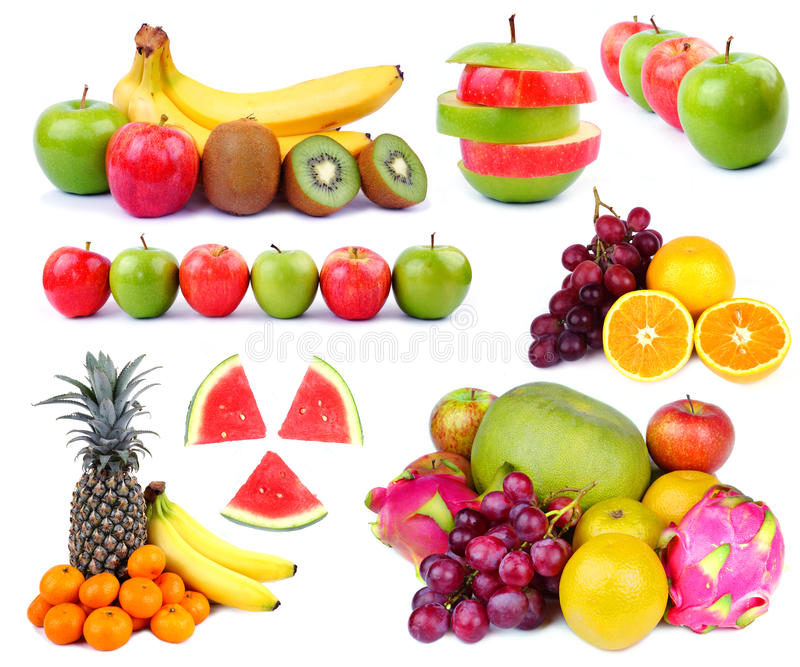 Tropical Fresh Fruit Collage stock images