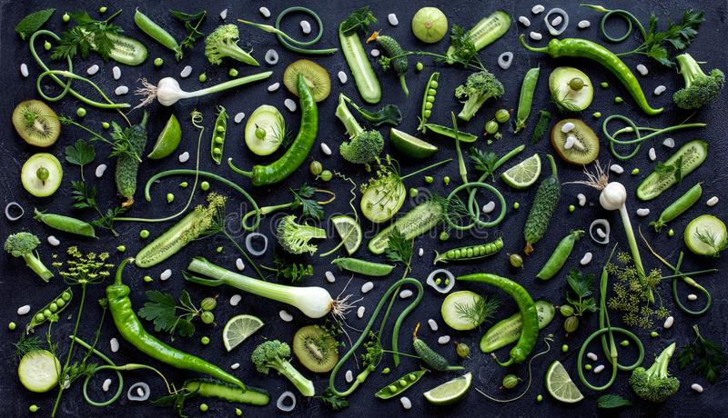 Collection of fresh green fruit and vegetables stock images